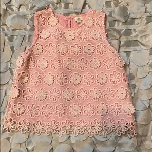 Previously loved 3D lace flower cutout top 4 girls